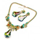 Vitrail Green Dangling Stones Necklace Set ~ Green Topaz