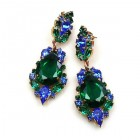 Grand Mythique Earrings for Pierced Ears ~ Emerald Blue