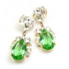 Fountain Earrings for Pierced Ears ~ Clear with Green