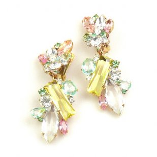 Touch the Sky Earrings Clips ~ Yellow Green Crystal