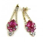 Fuchsia and Clear Crystal Earrings for Pierced Ears