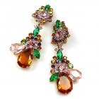 Parisienne Bloom Earrings Clips ~ Topaz Pink Green