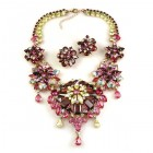 Crystal Blossom ~ Necklace Set ~ Purple AB Fuchsia Yellow