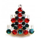 Xmas Tree Brooch #06 ~ Emerald Red Clear
