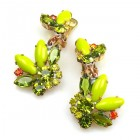 Florence Earrings with Clips ~ Lime Green Olive Hyacinth
