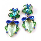 Floralie Earrings Pierced ~ Green with Blue