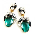 Fiore Clips Earrings ~ Emerald with Black and Clear