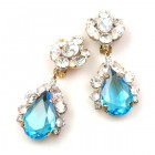 Fountain Clips-on Earrings ~ Clear Crystal Aqua