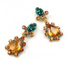Heritage of History Earrings Clips ~ Topaz Emerald