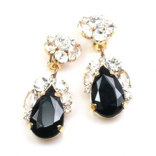 Fountain Clips-on Earrings ~ Clear with Black
