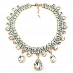 Raindrops Necklace ~ Clear Crystal with Pink and Aqua