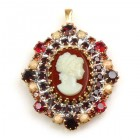 Cameo Pendant Oval ~ Maroon Cream Black