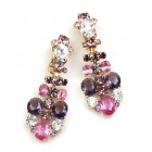 Dione Earrings Clips ~ Purple Fuchsia Clear Crystal