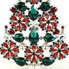 2020 Xmas Tree Stand-up Decoration 22cm ~ Red Emerald Clear
