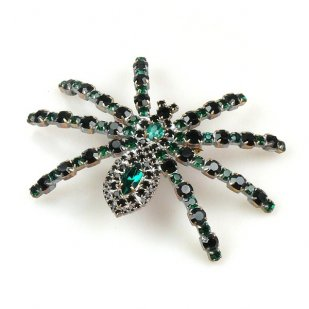 Tarantula Brooch ~ Emerald and Black