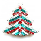 Xmas Tree Brooch Baguettes ~ Emerald Red