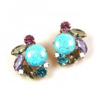 Empress Earrings Round Stone Clips ~ Violet Aqua Tones