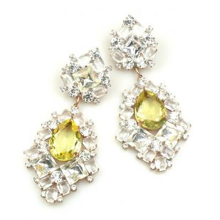 Beaute Earrings Pierced ~ Crystal with Yellow
