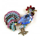 Rooster Brooch ~ Sapphire Blue