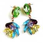 Close to Heaven Pierced Earrings ~ Green Multicolor