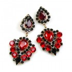 Lioness Pierced Earrings ~ Red Black