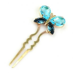 Hairpin Bobbi with Butterfly ~ Aqua Montana Blue