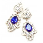 Beaute Earrings Pierced ~ Crystal with Silver Blue