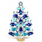 2020 Xmas Tree Decoration 21cm Navettes ~ Blue Aqua Clear