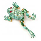 Jumping Frog Brooch Emerald ~ Big
