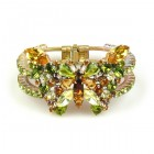 Butterfly Clamper Bracelet ~ Yellow Olive Green