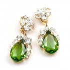 Fountain Clips-on Earrings ~ Clear with Olive Green