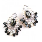 Elegancy Earrings for Pierced Ears ~ Clear Crystal with Black