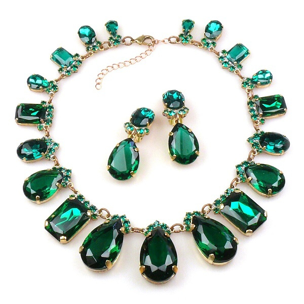 effervescence necklace set emerald green lilien czech