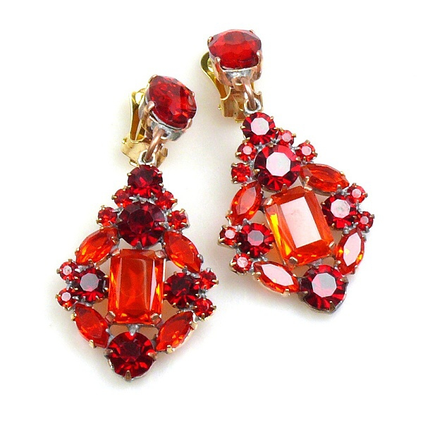 Fatal Touch Earrings Clips On Ruby Red Lilien Czech Authentic Rhinestone Jewelry