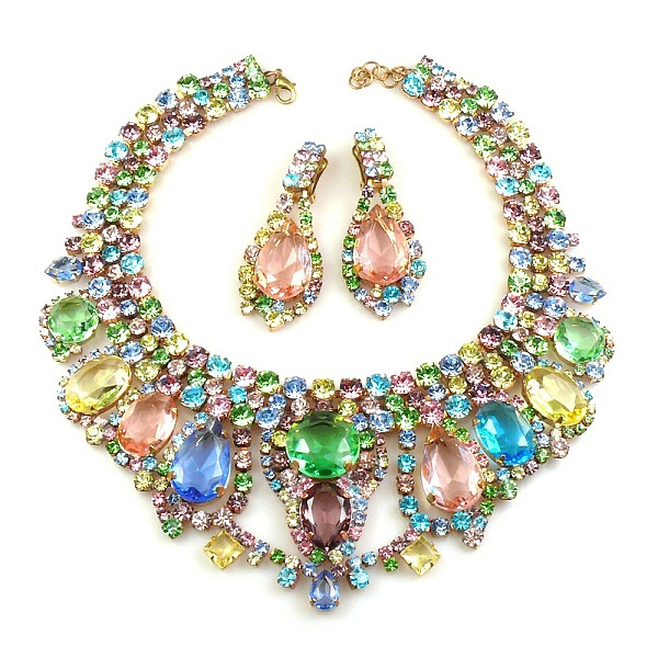 lilien necklace with earrings multicolor lilien czech