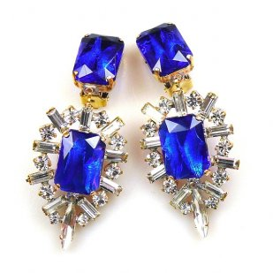 Ella Earrings Clips ~ Baguettes and Octagons ~ Blue
