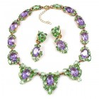 Mythique Set Lite ~ Necklace and Earrings ~ Green Violet