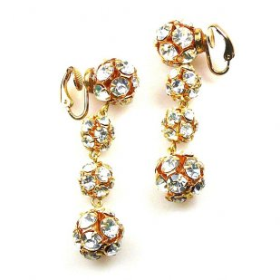 Rondelles Earrings with Clips ~ Gold Plated