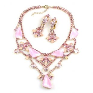 Picasso Jewelry Set with Earrings ~ Pink