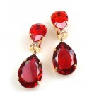Raindrops Earrings Clips ~ Ruby Red