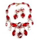 Floralie Necklace Set with Earrings ~ Red Crystal