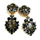 Aztec Sun Earrings Clips ~ Black with Smoke Crystal
