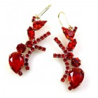 Ants Earrings Pierced ~ Red