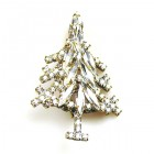 Xmas Tree Brooch #02 ~ Clear Crystal