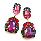 Iris Earrings Pierced ~ Extra Violet Red Fuchsia