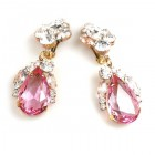 Fountain Clips-on Earrings ~ Clear Crystal Pink