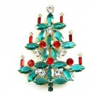 Xmas Tree Brooch #15 ~ Emerald Red Clear