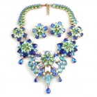 Crystal Blossom ~ Necklace Set ~ Blue AB Aqua Green