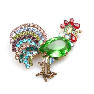 Rooster Brooch ~ Green