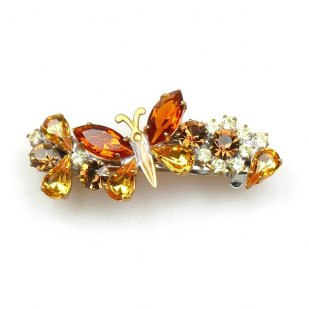 Barrette Clip with Butterfly ~ Topaz